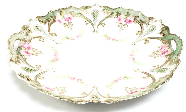 RS Prussia Scalloped Serving Dish, Pink Roses w/ Green Swag - Germany c 1904-1918
