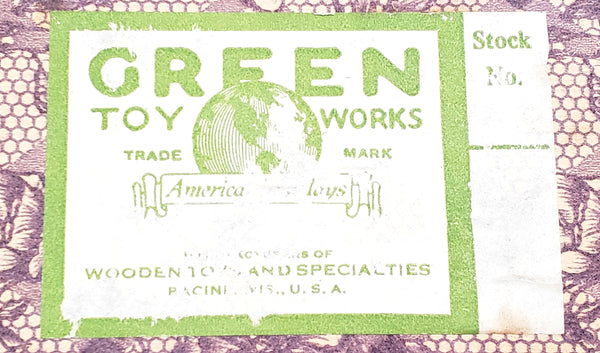 "Antique Doll Chest by ""Green Toy Works"" w/ Original Green Paper Label c. 1920's"