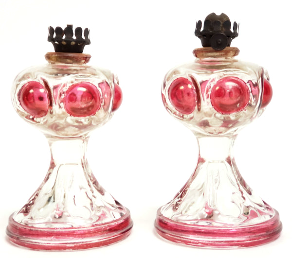 Antique Miniature Flash Glass  Oil Lamps Clear with Cranberry Bullseye Pattern
