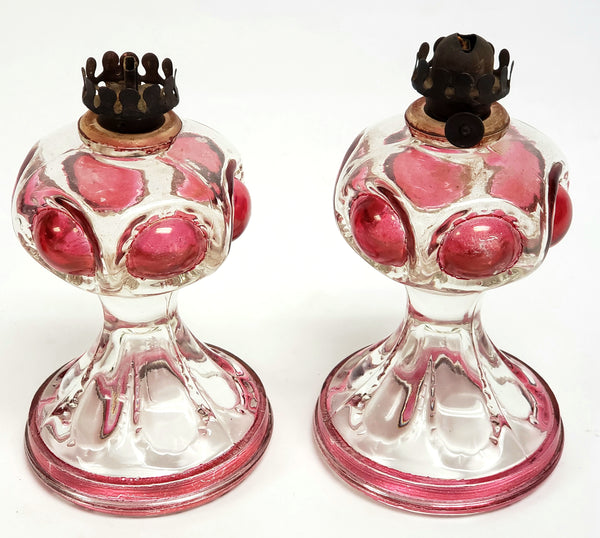 Antique Miniature Flash Glass Oil Lamps Clear w/ Cranberry Bullseye Pattern