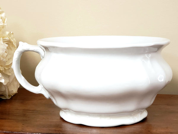 Antique White Ironstone Chamber Pot, Johnson Brothers England - No Lid ~ Early 1900's