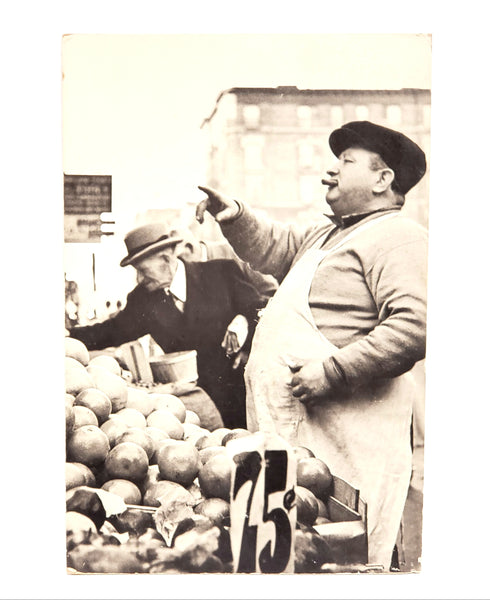 "Mid Century Erika Stone Black & White Photograph, ""Fruit Peddler on Orchard Street New York City c. 1950's"