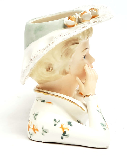 Lefton Ceramic Lady Head Vase w/ Original Foil Sticker 3140B ~ 1950 - 1960's