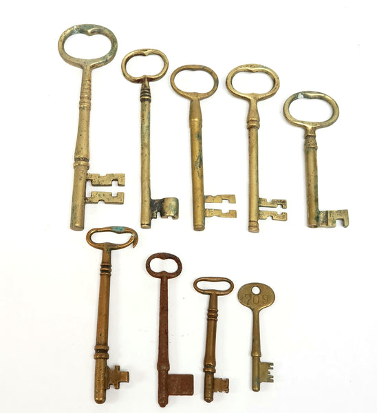 Antique Skeleton Keys, Collection of 9 Assorted Sizes and Styles