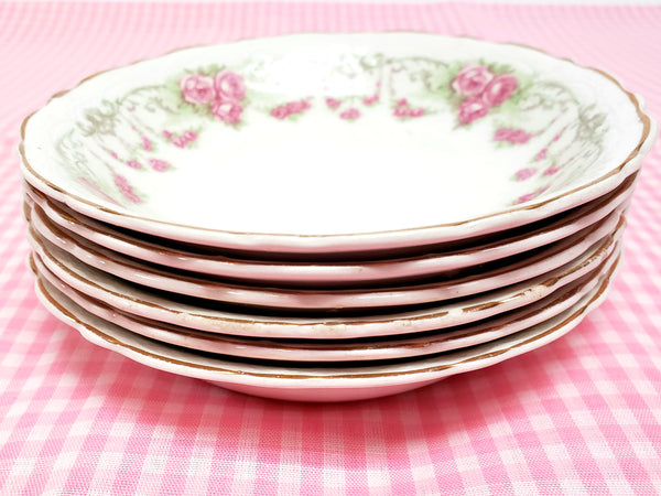 Antique Round Side Dishes, Set of 6, Pink Rose Clusters by Johnson Brothers England ~ 1891-1920