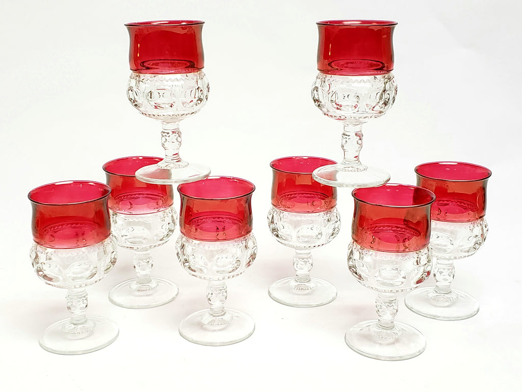 King's Crown Thumbprint Ruby-Stained Wine Glass Goblets by US Glass-Tiffin