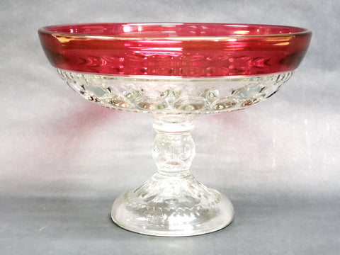 Large King's Crown Thumbprint Cranberry Flashed and Clear Pedestal Compote Bowl