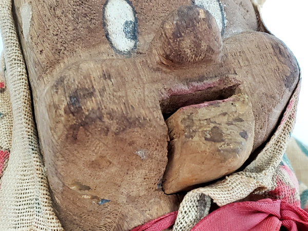 Creepy Primitive Wooden Puppet With Movable Mouth