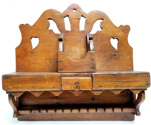 Unique Wooden Carved Kitchen Spoon Rack w/ 30 Spoon Slots