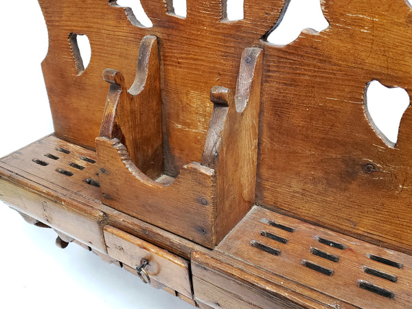 "Unique 23"" Wooden Carved Kitchen Spoon Rack w/ 30 Spoon Slots"