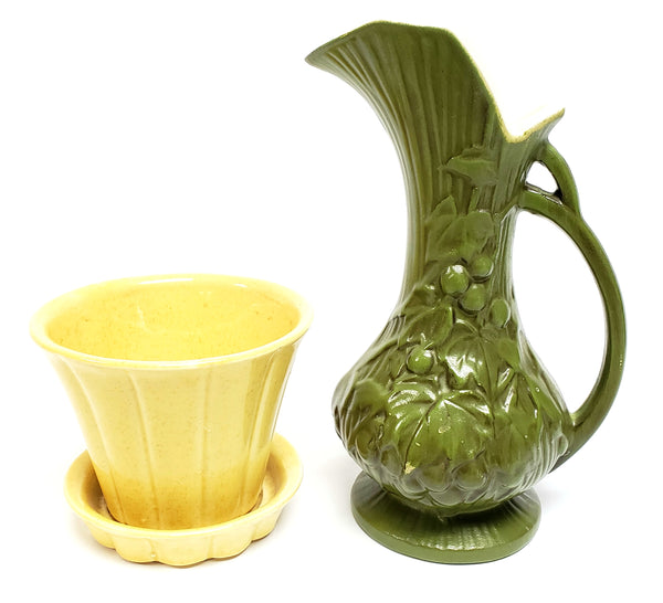 McCoy Pottery Olive Green Pitcher Grapes & Vines and Yellow Planter