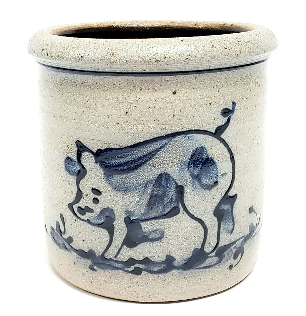 Salt Glazed Stoneware Crock, Cobalt Blue Pig Pattern by Rowe Pottery Works 1989