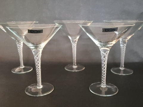 "Toscany Martini Glasses - Hand Blown ""Air Twist Stem"" - Set of 6 - Made in Romania"