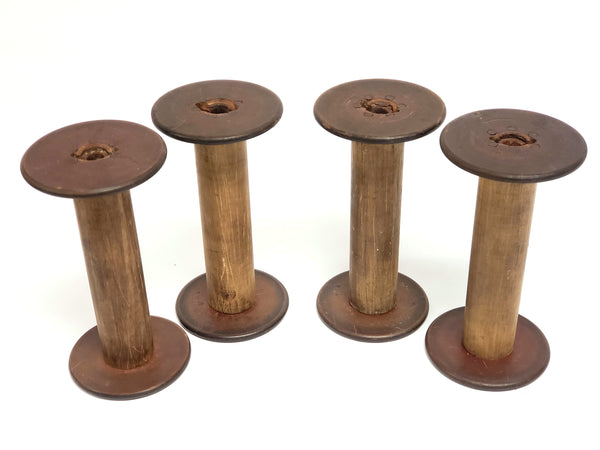 Antique Wooden Textiles Spools - Collection of 4 - Crafting or Repurpose