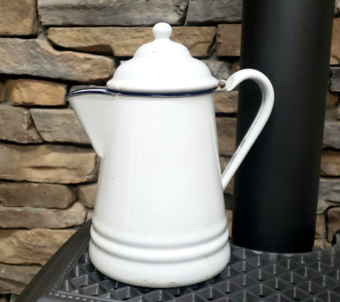 Vintage White Enamelware Coffee Pot with Dark Blue Trim