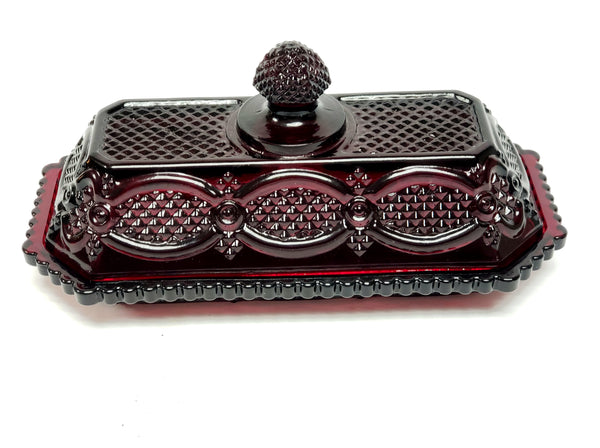 Ruby Red Glass Avon Butter Dish, 1876 Cape Cod Collection