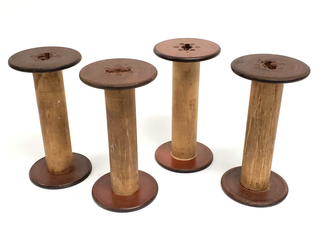 Antique Wooden Textile Spools - Collection of 4 - Crafting or Repurpose Project