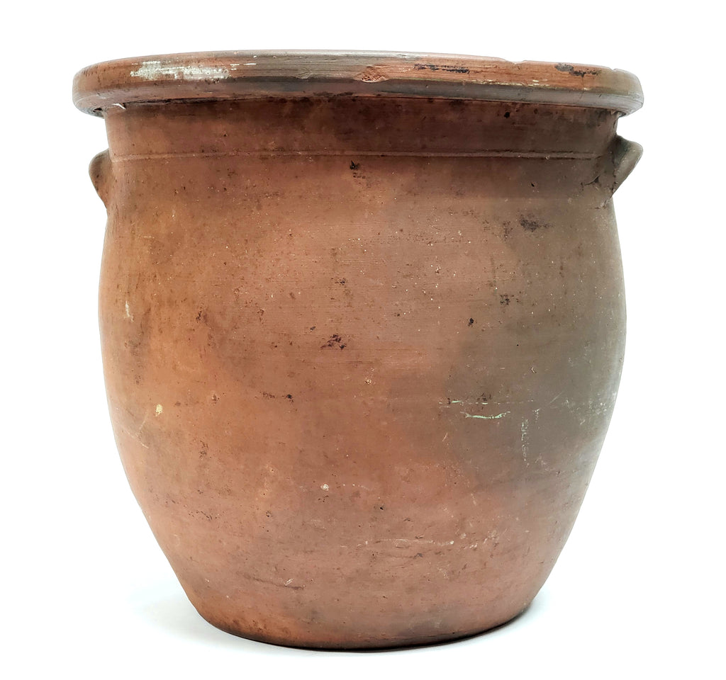 arge Antique Redware Pottery Crock with Double Handles