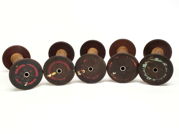 Antique Wooden Textile Spools - Collection of 5 - Crafting or Repurpose Project