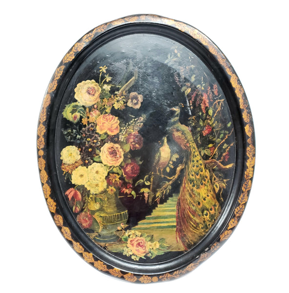 "Large 24"" Early Oval Toleware Tray - ""Peacocks and Floral"""
