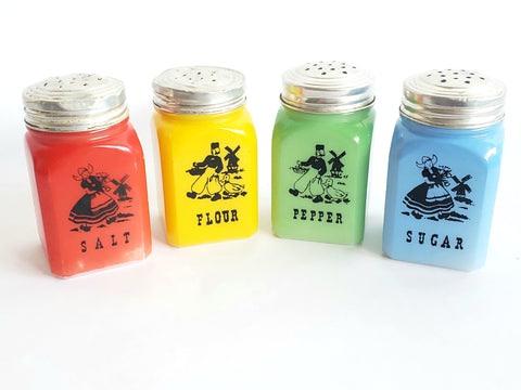 Original Fired On Colored Milk Glass Shaker Set of 4 Dutch Theme by Hazel Atlas