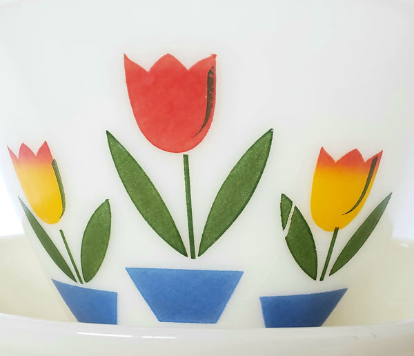 Fire King Tulip Deep Glass Mixing Bowl Set of 4 by Anchor Hocking ~1940's