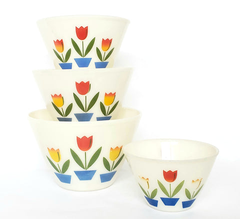 Fire King Tulip Deep Mixing Bowl Set of 4 by Anchor Hocking ~1950's
