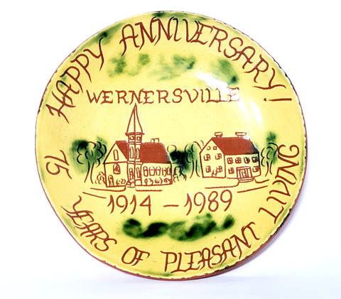 "Signed Redware Pie Plate ""Happy Anniversary Wernersville"" Pennsylvania 1989 by Lester Breininger"