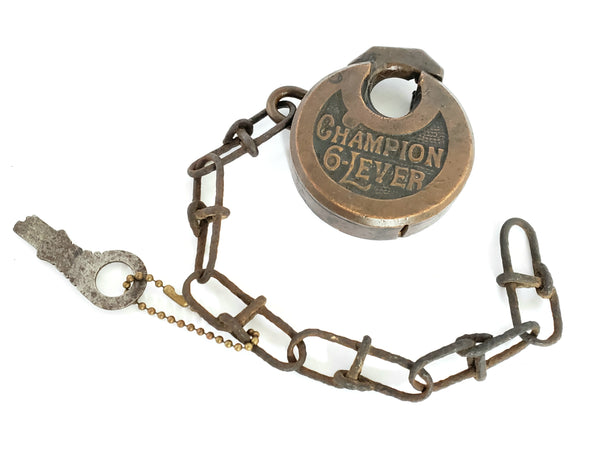 Antique Brass Champion 6-Lever Push Key Padlock w/ Key and Chain