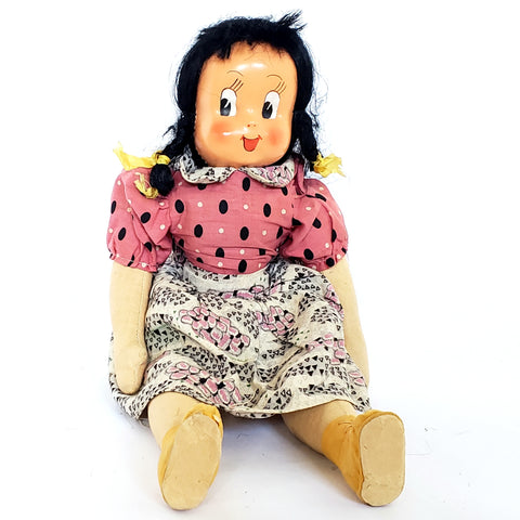 "Poland Stuffed Cloth Doll 15"" Hard Plastic Mask Face-Jointed-Black Hair ~1940's - 50's"