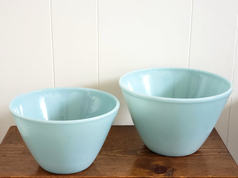 Fire King Turquoise Blue Deep Mixing Bowls Set of 2 by Anchor Hocking