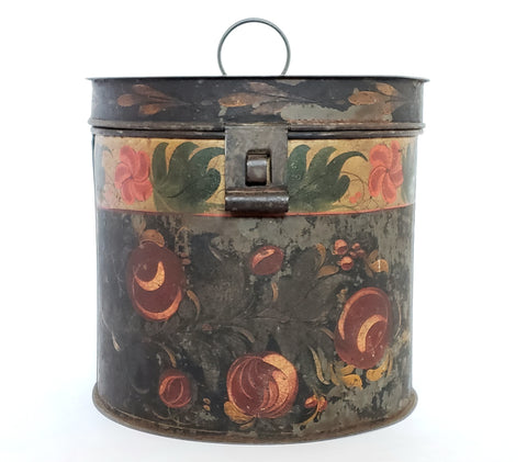 Decorative Antique American Painted Toleware - Round Tin Box c 19th Century