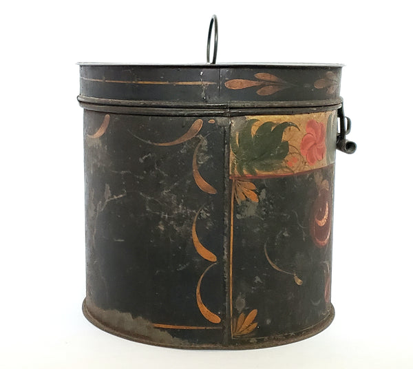 Antique Americana Toleware Lidded Round Tin Canister c. 19th Century