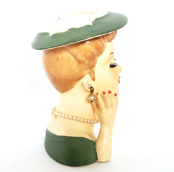 Mid-Century Lady Head Vase - Planter in Green Labeled Lee Wards Japan