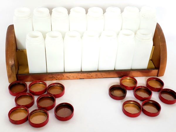 Set of 15 White Milk Glass Spice Jars w/ Red Metal Lids & Rack - Griffith ~ 1940's