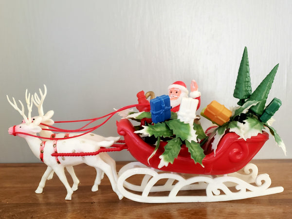 Vintage Plastic Santa on Sleigh w/ Two Reindeer, Snowmen and Presents ~ Mid Century