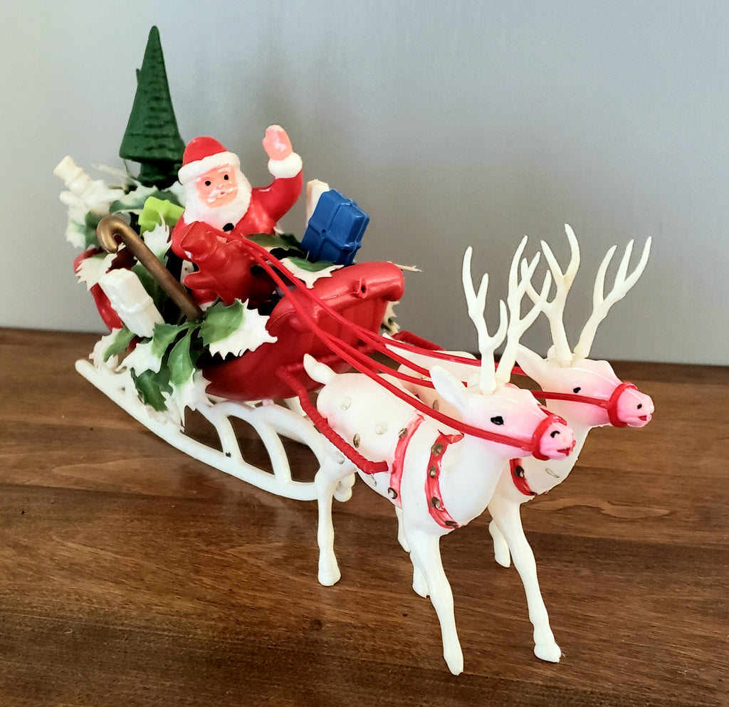 Vintage Plastic Santa Figurines w/ Two Reindeer, Snowmen and Presents in Sleigh ~ Mid Century
