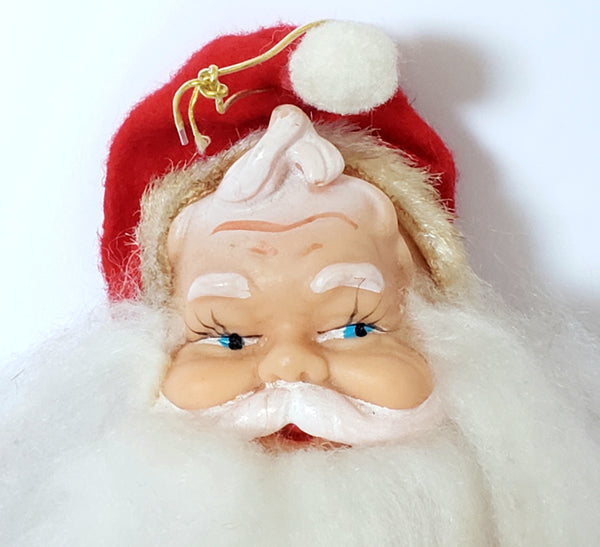 Vintage 7 inch Stuffed Santa Ornament with Rubber Face ~ 1950's - 1960's