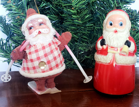 Pair of Santa Collectibles - Friction Wheeled Rolling Toy and Santa on Skis ~ Mid Century