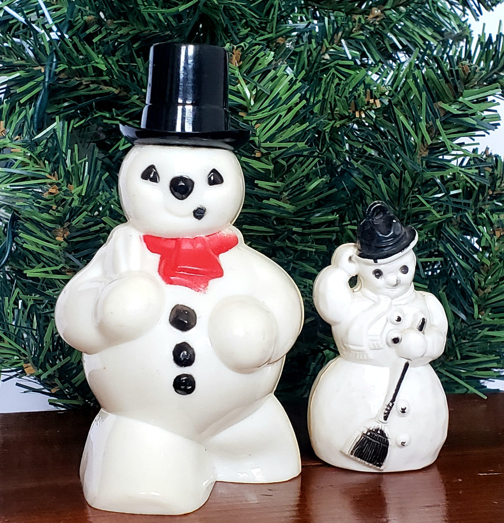 Pair of Mid Century Plastic Frosty Snowmen - Candy Container and Tree Ornament