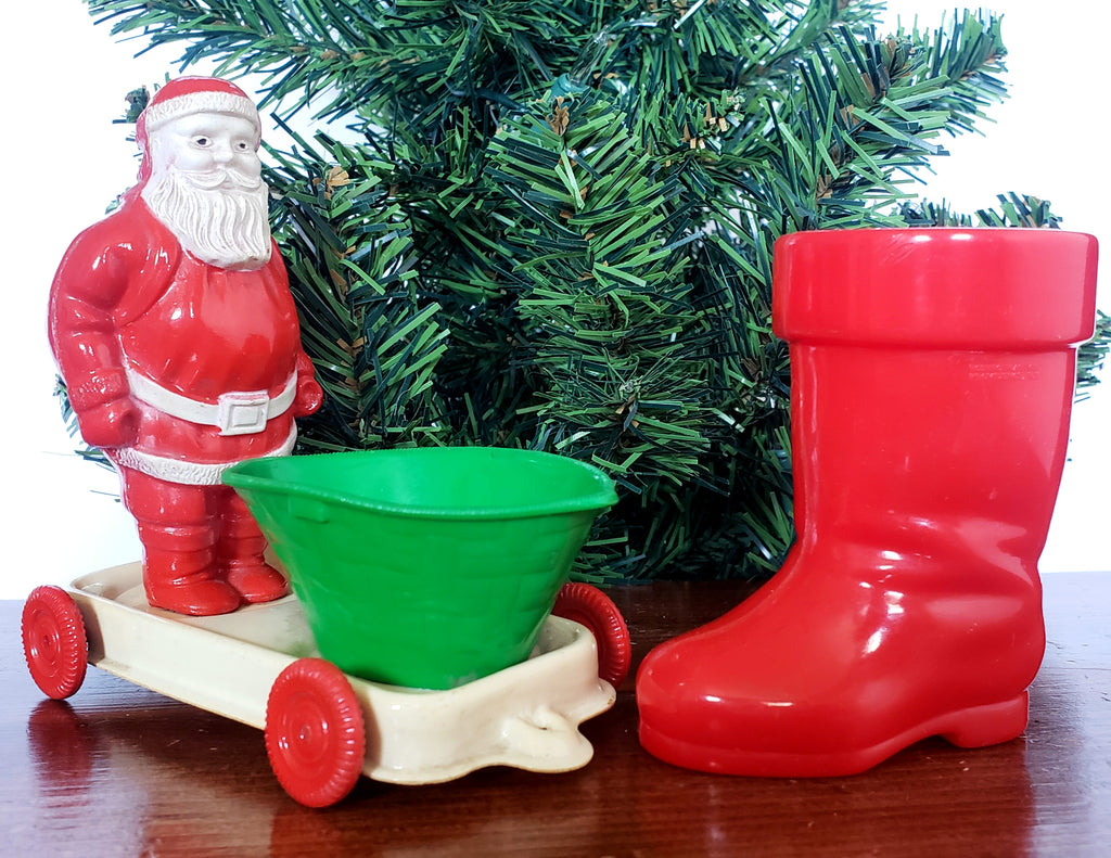Americana Vintage Plastic Candy Container Holders - Boot and Santa Pull Cart on Wheels ~ 1950's