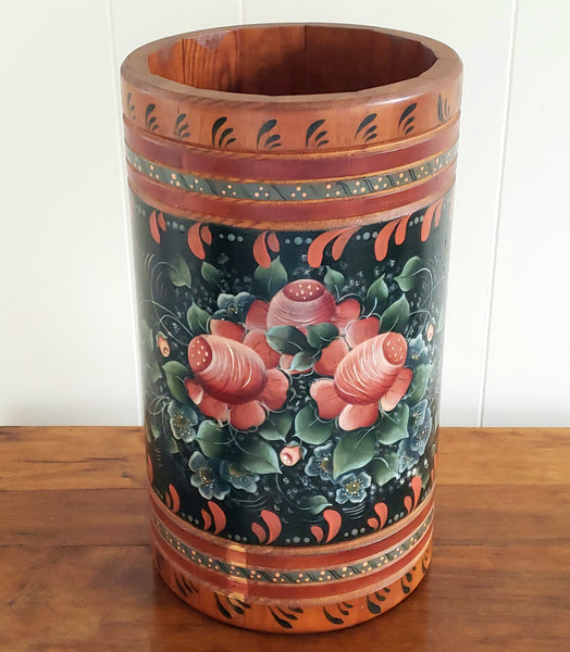 Hand Painted Rosemaling Folk Art Style Indoor Wooden Decorative Holder-Bucket