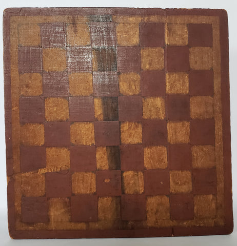 Primitive Handcrafted & Decorated Wooden Checkerboard