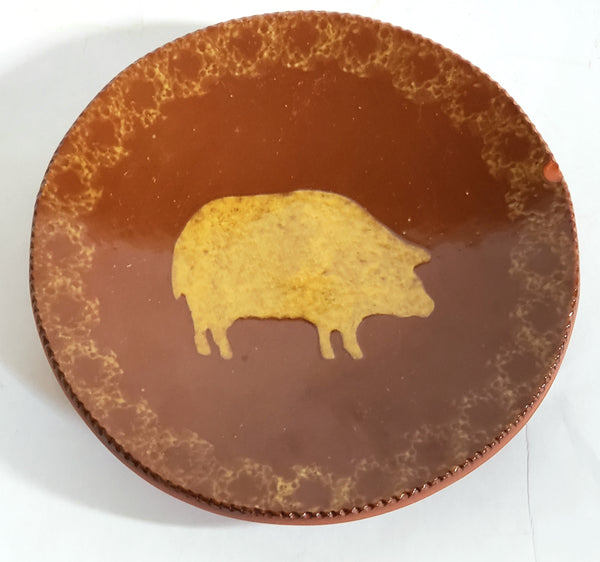 Early Pair of Ned Foltz Art Pottery Redware Plates - Cow and Pig c. 1982 & 1983