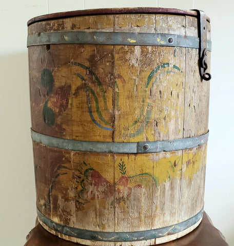 Early Pennsylvania Dutch Folk Art Wooden Barrel-Cask w/ Iron Drum Insert - Original Worn Paint