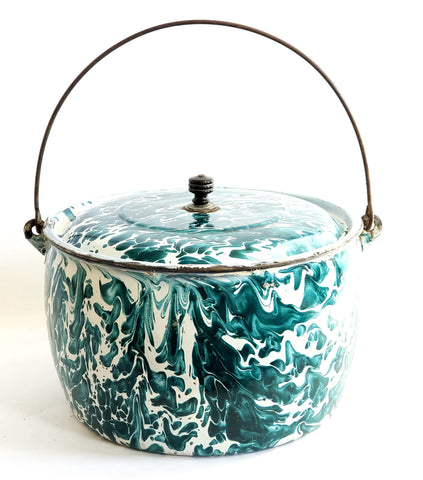 Rare Larger Antique Chrysolite Graniteware Kettle w/ Lid Teal & White Swirl c. Late 1800's