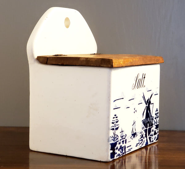Vintage Cobalt Blue and White Salt Box, Windmill & Sailboat - Germany