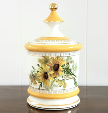 Italian Yellow Daisies on White Porcelain Lidded Jar