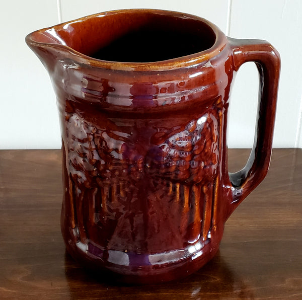 "Large Antique Brush McCoy Pottery Pitcher - Brown Woodland ""Avenue of Trees"" Dark Brown Glaze c.1912-1918"