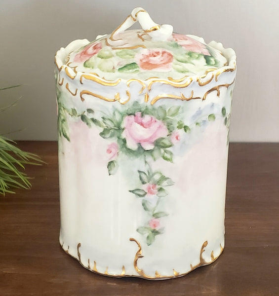 Porcelain Biscuit/Cracker Jar - Pink Roses w/ Green Foliage - Snake Like Body Finial